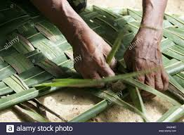 old woman makes a part for a roof out of palm tree leaves in a
