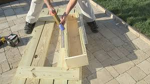 How To Build A Wooden Picnic Table by Diy Picnic Table With Built In Cooler The Home Depot