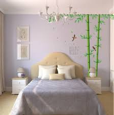 Grey Cream And White Bedroom Beautiful Bedroom Decoration With Green Wall Mural On Grey Wall