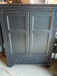 black painted distressed tv cabinet armoire country style accents