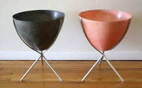 mid century modern eames style fiberglass bullet planters picked
