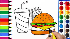 draw color paint happy meal chicken burger soft drink coloring