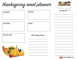 thanksgiving dinner meal prep free printable meal planner
