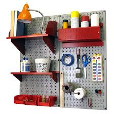shop wall control 32 in w x 32 in h gray red steel garage storage