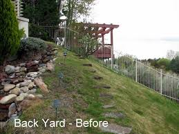 Landscaping Ideas Hillside Backyard Triyae Com U003d Steep Backyard Ideas Various Design Inspiration For
