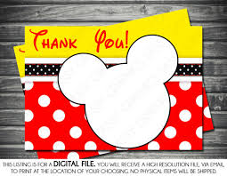 mickey mouse thank you cards mickey mouse inspired matching birthday thank you card