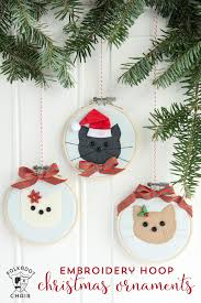 cat embroidery hoop ornaments the polka dot chair
