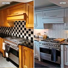 best paint for kitchen units uk grey spray painted kitchen cabinets totally transform this