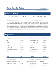 Sample Resume For One Year Experienced Software Engineer by Sql Server Resume For Freshers Sample Resume Software Developer 2