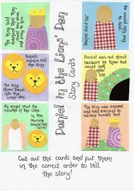 free printable for set of story cards for retelling daniel in the