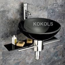 black vessel sink faucet wall mounted bathroom black tempered glass sink vanity modern faucet