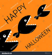 happy halloween card fish monster eating stock illustration