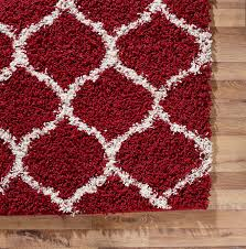 Large Red Area Rug Shaggy Trellis Area Rug Fluffy Modern Carpet Contemporary Large