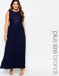 Navy Blue Lace Dress Plus Size Club L Plus Size Maxi Dress With 3d Floral Sequin Top In Blue Lyst
