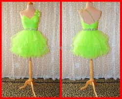 green cocktail 2017 lime green homecoming dresses one shoulder ball gown short