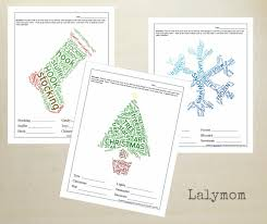 free printable christmas worksheets holiday word clouds lalymom