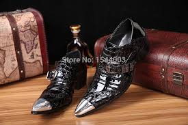 cheap wholesale snakeskin genuine leather men shoes metal pointed