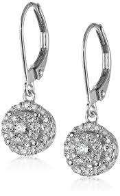 white gold dangle earrings 14k white gold diamond cluster circle drop earrings 2