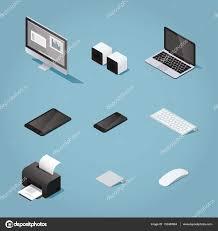 ensemble ordinateur de bureau ensemble d ordinateur de bureau isométrique image vectorielle