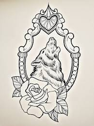 uncolored wolf in mirror frame with design