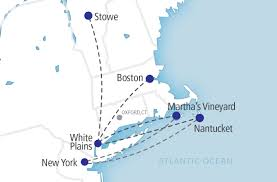 Northeast Map Usa east coast charter by the seat private jet flights tradewind