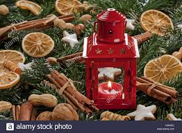 christmas decoration table lantern fir branches apples nuts