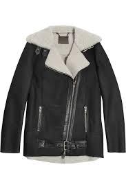 biker coat leather trimmed shearling biker jacket u2013 65 at the outnet com