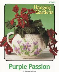 purple passion crochet pattern plant pot hanging gardens series
