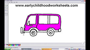 kid car drawing how to draw cartoon van car easy step by step for kids youtube