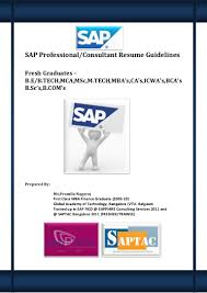 Consultant Resumes Sap Professional And Consultant Resume Guidelines For Fresh Graduates