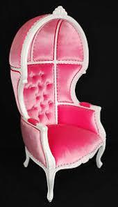 white finish porter chair w pink velvet balloon bonnet canopy