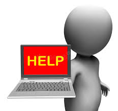 Laptop Help Desk Help On Laptop Shows Helping Customer Service Help Desk Or Suppo