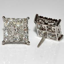 s mens earrings men s diamond stud earrings xl big square dia back