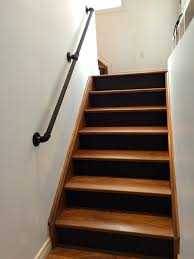 Joseph R Banister Gas Pipe Railing Walnut Stairs Black Risers Gas Pipes