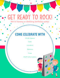 happy birthday free rock climbing birthday invitations