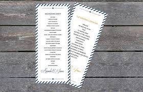 tea length wedding program template diy wedding program template navy carnival stripes tea length