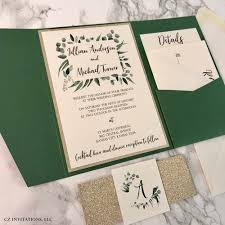 green wedding invitations eucalyptus forest green and gold glitter wedding invitation cz