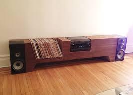 cush design studio furniture cardboard and walnut record player