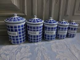 Blue Kitchen Canister Sets French Enamel Storage Tins Beautiful Set Of 5 Vintage Kitchen