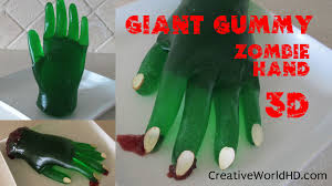 diy giant gummy zombie hand halloween candy home recipe how to