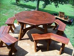Red Cedar Octagon Walk In Picnic Table by Exteriors Wonderful Walk In Octagon Picnic Table Plans Free