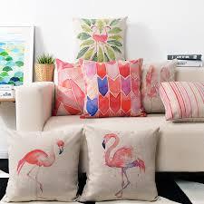 Nordic Watercolor Pink Flamingo Pillow cushions Birds lumbar