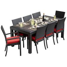 rst brands deco 9 piece patio dining set with cantina red cushions