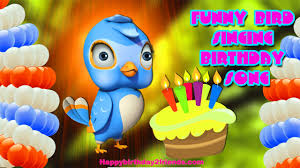 effective funny animated birthday card for child and bird art card