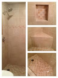 light beige tile shower with corner bench beige tiles shower with