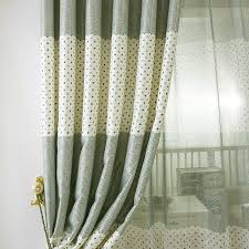 Green Kids Curtains Green And Beige Polyester Plaid And Polka Dot Pattern Kids Curtains