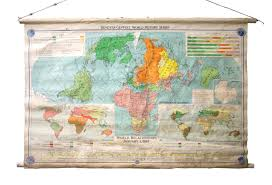 Large Vintage World Map by Large Vintage Denoyer Geppert 1967 Political Map Omero Home