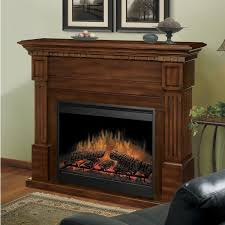 interior dark brown wooden fireplace connected by beige wall
