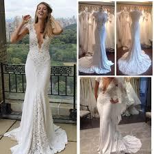2016 lace wedding dresses mermaid v neck cap sleeves open
