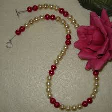 long pearl beaded necklace images Czech glass pearl beaded necklace of creme and fuchsia enticing jpg
